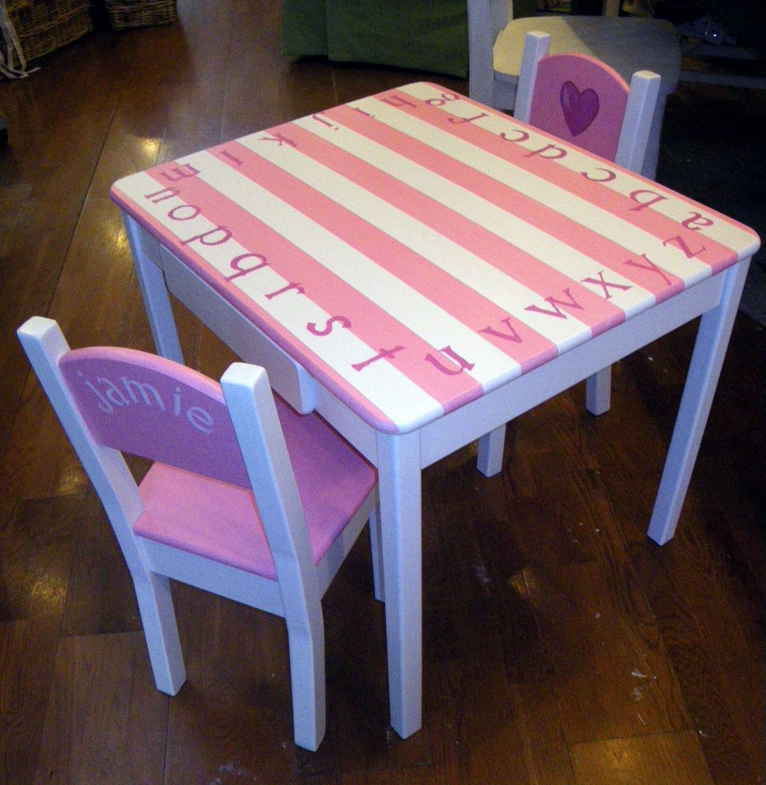 Hand-painted Childrenu0027s Table and Chair Set & Hand-painted Childrenu0027s Table and Chair Set u2013 Sea Green Designs LLC