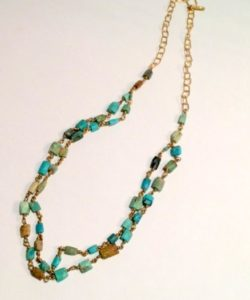 Turquoise and Brass Cushion Necklace