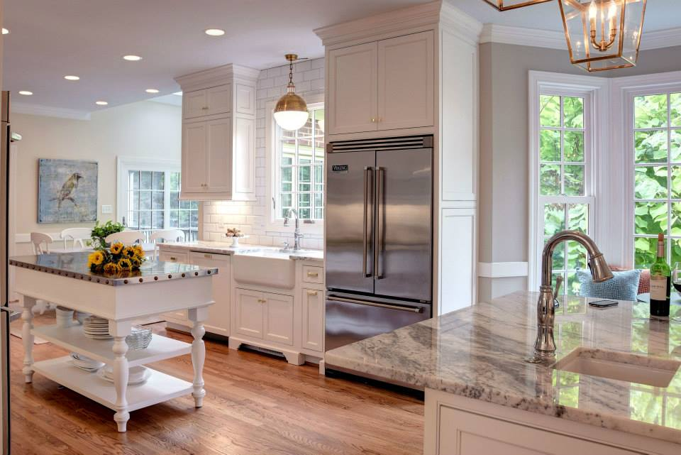 Trend The white kitchen by Creative Cabinet Works above as a really unique center island with stainless steel counter top which could make a kitchen feel cold